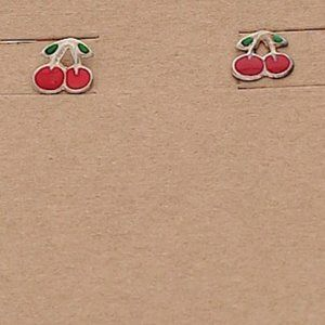 2 pairs CHERRIES EARRINGS post red green enamel